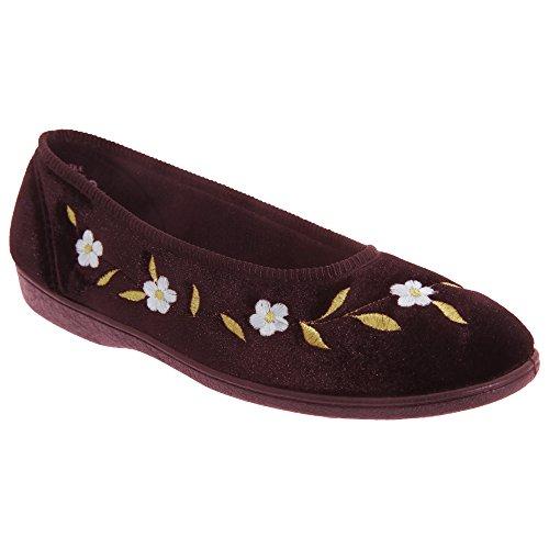Pantofole comode con fantasia floreale - Donna Nero