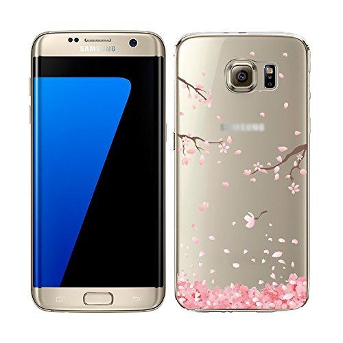 YSIMEE para Carcasa Samsung Galaxy S6 Edge Plus,Xmas Decoración Fundas Transparente Silicona Suave Ultra Fina Delgado Gel Bumper TPU Goma Protectora Carcasas -Flor de cerezo #1