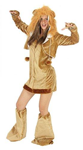 Foxxeo Löwen Kostüm für Damen Tierkostüme sexy Kleid für Karneval und Fasching Erwachsene Größe - Für Erwachsene Sexy Löwen Kostüm