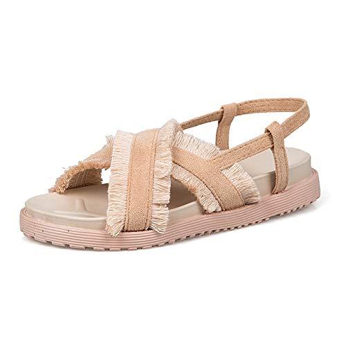 Mamrar Frauen Casual Sandalen Sommer Quaste Lazy Single Foot Muffin und Damenschuhe EU Größe 35-40 (Color : Apricot, Size : 36EU) -