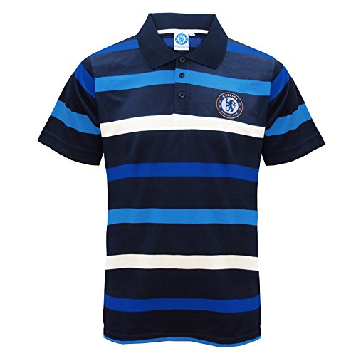 Chelsea FC Official Football Gift Mens Striped Polo Shirt Large