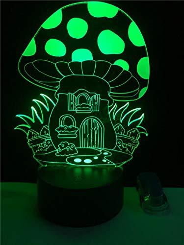 2 Paket, Cartoon 3D Nette Märchen Pilz Haus Illusion Led Schöne Nachtlichter Atmosphäre Stimmung Lampe Beleuchtung Spielzeug Geschenke -