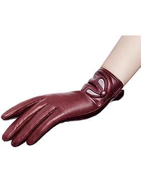DIDIDD Guantes de cuero Lady Warm Plus Cashmere Car Gloves,rojo,Medio