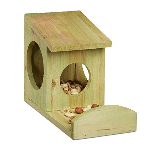 Relaxdays Eichhörnchen Futterhaus zum Hängen, Aus Holz, Wetterfest, HBT: ca. 17,5 x 12 x 25 cm, grün