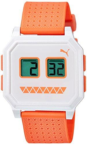 Puma Wrist robots Women's Quartz Watch with White Dial Digital Display and Orange Rubber Bracelet PU910951015