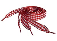 Really Cute Pink Gingham & Red Gingham Shoelaces for Infants Kids Junior & Women's Converse Lo & Hi Top Trainers. (Juniors Converse Lo's 85cm, Red Gingham Laces)