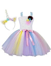 AmzBarley Vestido de Tutú de Tul Unicornio de Niña Disfraz de Princesa con Unicornio de argolla de Pelo para Fiesta…