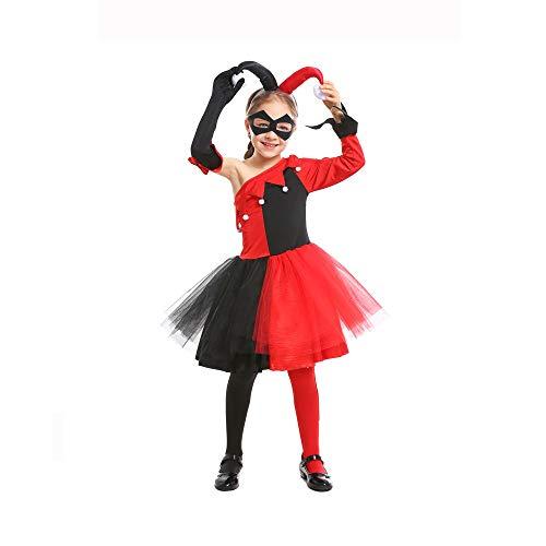 Kostüm Clown Girl Halloween - LIMIAO Halloween Kostüm 5 Stück Lustige Clown Girl Kostüm Drama Durchführung Maskerade Bühnenperformance Cosplay Kostüm ( Size : XS )