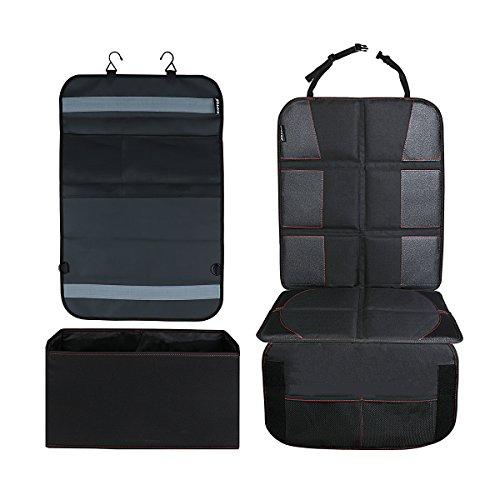KIPTOP Autositzauflage Kinderautositzschutz Mat & Auto Rückenlehnenschutz Organizer mit Abnehmbare Handschuhfach / Mülleimer