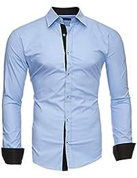 Kayhan Hombre Camisa Manga Larga Slim Fit S-6XL - Modello Twoface + London 675ce8e10bbf1
