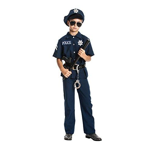 i-Kostüm für Kinder komplett mit Handschellen und Mütze + Schlagstock, Farbe: blau, Größe: 116, Verkleidung für Fasching, Karneval, Halloween - Jungen Polizist Kostüm (Polizei-mädchen-kostüm)