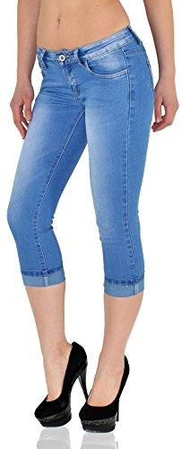 by-tex Damen Capri Hose Damen Caprihose Damen Jeans Capri bis Übergröße J242