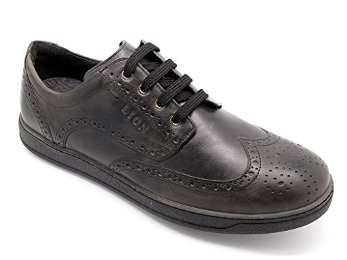 Lion shoes derby uomo con motivo a coda di rondine, tomaia pelle soft grey e suola di gomma (EU 45)
