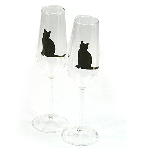 Superbe Lucky Cat Flûte à champagne en verre de mariage d'anniversaire