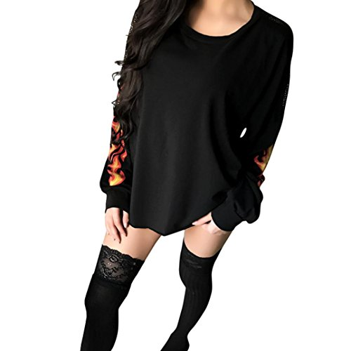 Langarm Shirt Damen Winter Frauen Spitze Transparent Zurück Flamme Print Fashion Sweatshirt Pullover Tops Bluse Sunday (Schwarz, XL) (Top Stricken Zurück)