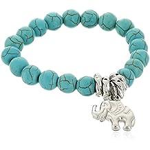 Bracelet de perles turquoises BODYA pour femmes, orné d'un éléphant porte-bonheur