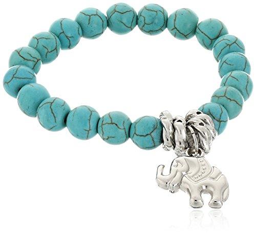 Bodya, braccialetto a fascia con perline turchesi e ciondolo con elefante portafortuna in argento tibetano, da donna