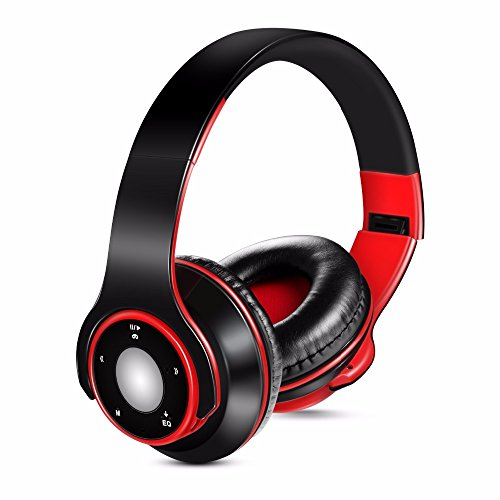qazcg Earphone Bluetooth 5.0 Over-Ear Stereo Headsets Compatible with Samsung iPhone, Ipad, Cell Phone, Pc, Tv,and Laptop red Bluetooth Headset Voice-dial