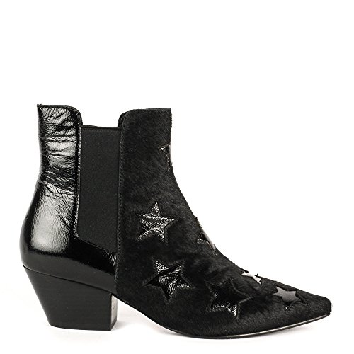 Ash CRISTAL Star Pattern Boots Black & Vinyl Leather 37 Black
