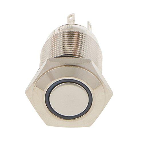 Preisvergleich Produktbild Sharplace 16mm 12V Druckknopf Schalter Push Button ON/OFF wasserdicht 2A / 36VAC - Blau LED Licht
