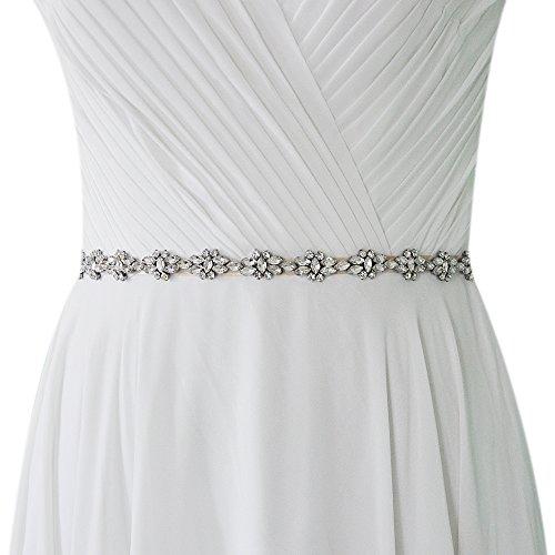 TOPQUEEN Hochzeits-Gürtel-Hochzeits-Schärpe-Brautgurt-Brautschärpe für Hochzeits-Diamant (Weiß)