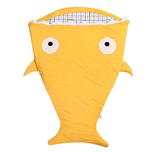 Anmain sacco a pelo neonato, bambino sacco a pelo cotone a forma di squalo morbido e comodo coperta, sacco a pelo pesce per passeggino con cuscino (giallo)