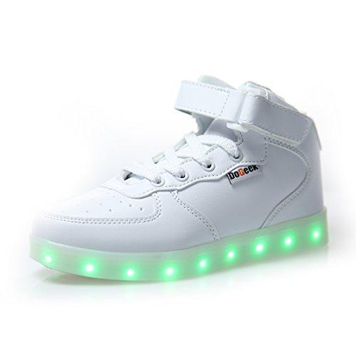 DoGeek Scarpe LED Luminosi Sneakers con Le Luci Accendono Scarpe con Luci Sportive,Bianco,39 EU