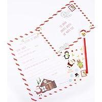 AIBULO New CHRISTMAS WRITE LETTER TO SANTA PACK - STICKERS PENCIL & ERASER LETTER ENVELOPE