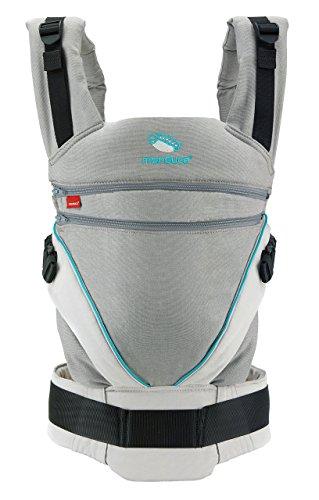 manduca XT/grey-ocean/Babytrage mit verstellbarem Steg, für Neugeborene & Kinder (3,5-20kg) grau/türkis