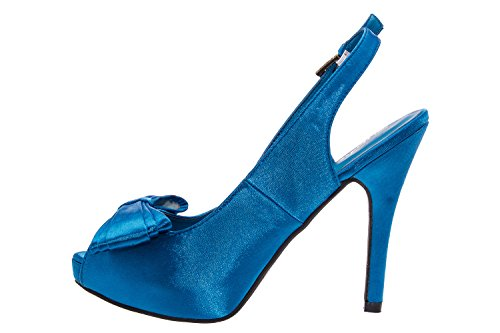 Andres Machado.AM590.Sandales Peep-Toes.Pour Femmes.Petites et Grandes Pointures de la 32/35-42/45. SatinBleu