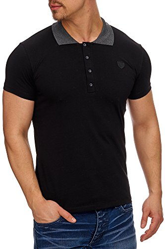 TAZZIO Herren Polo-Shirt Polohemd Poloshirt 17101 Schwarz