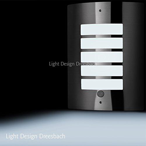 1er Set Edelstahl Wandleuchte Außenlampe Aussenleuchte mit Bewegungsmelder und LED COB 12Watt 1100Lumen kaltweiß E27
