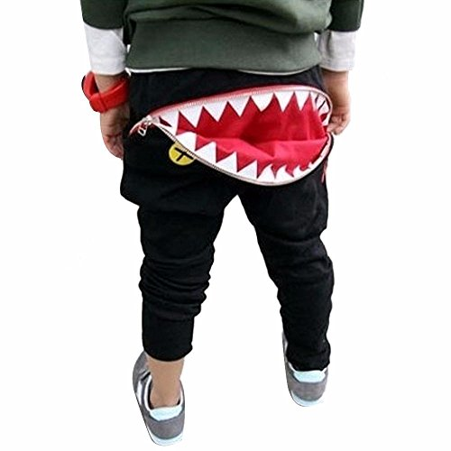 Elecenty Pantaloni per bambini forma di cartone animato Shark Tongue Harem cotone