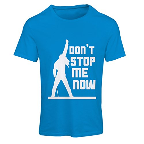Frauen T-Shirt Don't Stop me! Fan shirts, musiker geschenke, rock kleidung (Large Blau Mehrfarben) (Freddy Mercury Outfit)