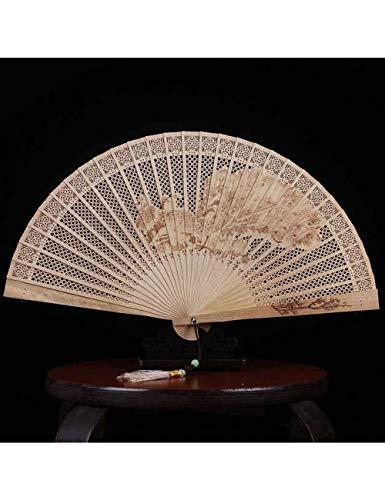 DSFH Fächer Faltfächer Chinesische Fan Geschenk Sandelholz Fan Alte Wind Aushöhlen Handwerk Alle Holz Fan Faltfächer Weibliche Duftenden Holz Fan Kleine