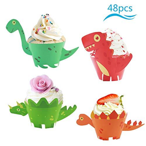 Muffin Topper (ZoomSky 48 Set Dinosaurier Cupcake Wrapper Papier Dino Muffin Backen Hüllen Kuchen Dekoration für Kinder Jungen Mädchen Geburtstag Party Deko)
