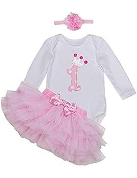 BabyPreg Babys Lange Ärmel 1. Geburtstag-Tutu-Ausstattungs-Kleid-Stirnband