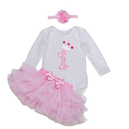 BabyPreg Babys lange Ärmel 1. Geburtstag-Tutu-Ausstattungs-Kleid-Stirnband (L/9-12 Monate, Rosa)