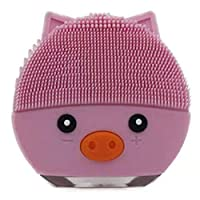 Binchil Pink Cartoon Pig Waterproof Electric Facial Cleansing Brush Ultrasonic Deep Vibration Pore Face Cleanser USB Silicone Massage