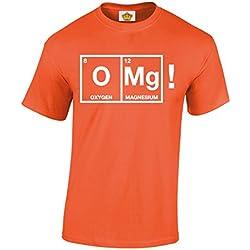 Crown Designs OMG Chemical Symbols Simpatico Secchione Geek Funky Cime per T-Shirt da Uomo E da Uomo - Arancia/Medio