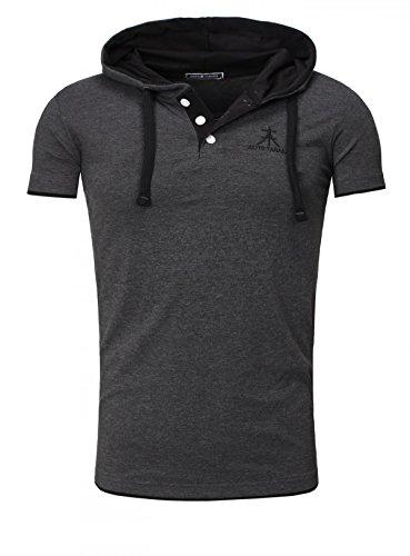 Akito Tanaka Herren Kontrast Polo T-Shirt mit Knopfleiste und Kapuze Hooded Bruststick Contrast Anthrazit-Schwarz