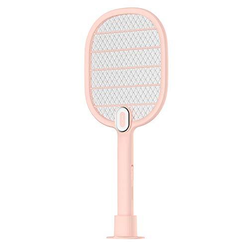 Elektrische Moskito-Klatsche USB wiederaufladbare Hause leistungsstarke Multifunktions-LED leuchtet große Fliegenklatsche Moskito-Lampe Schuss tragbare Stummschaltung,Pink