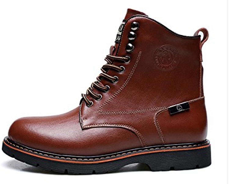 HL-PYL Botas, Martin botas, caliente botas cortas, botas, botas y botas de algodón,43,Brown