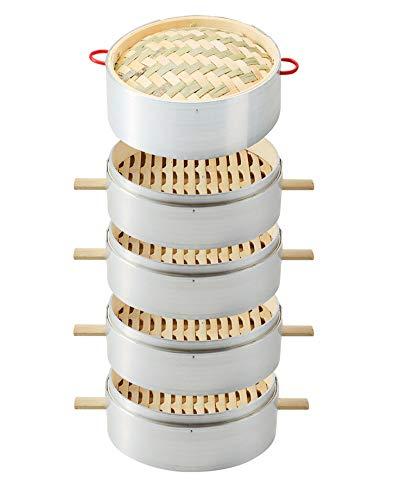 Handgefertigter Bambusdampfer, 7-13-Zoll-Körbe, Gesundes Kochen Für Gemüse, Dim-Sum-Knödel,4+1,24cm/9.44inch