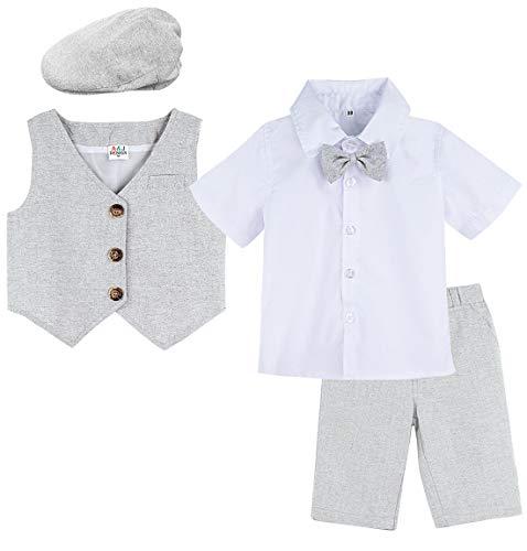 A&J DESIGN Säugling Formell Anzug Kurzarmhemd Set mit Hut (3-4 Jahre, Grau) (Kleinkind Vintage-anzüge)