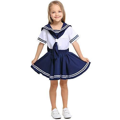 FDHNDER Child Cosplay Kleid Verrücktes Kleid Partei Kostüm Outfit Mädchen Marine Uniform Kindergarten Krieger, XS (Höhe 90-105) (Krieger Mädchen Kostüm)