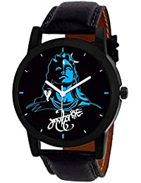 OpenDeal Mahadev Print Dial Black Leather Belt Watch For Boys & Girls Watch