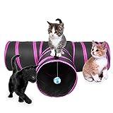 Lauva Cat Tunnel Jouet Pliable, 3Voies Fun Run Craindre l'exercice Jouer Jouet Chat Herbe à Chat Meilleure Maison de Jeu Lapins, Chatons Chiens