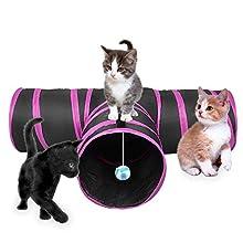 Lauva, tunnel gioco per gatti, pieghevole, con 3 uscite, per divertimento, esercizio e gioco, con erba gatta, adatto per conigli, gattini e cani