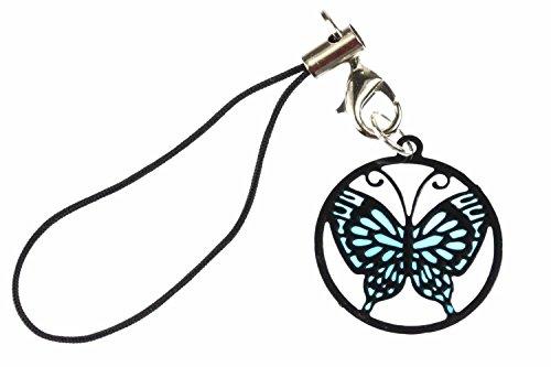 Miniblings Schmetterling Handyanhänger Anhänger Suncatcher blau schwz
